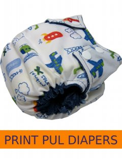 Printed PUL/Fleece Diapers