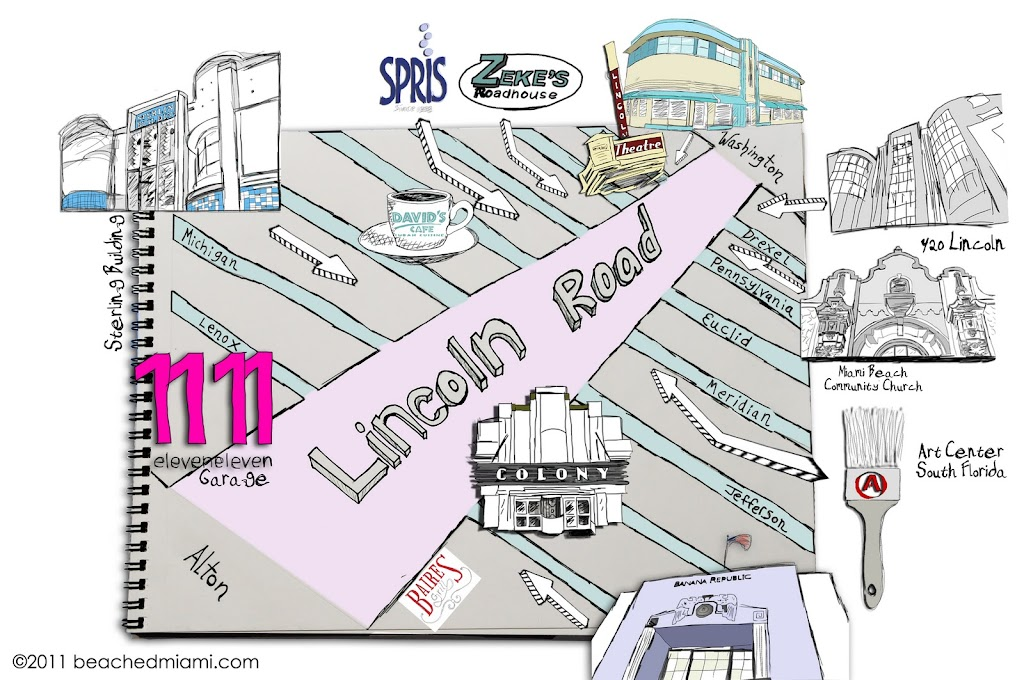A hand-drawn map of Lincoln Road