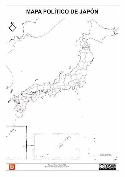 7) Mapa Político de Japón para colorear, Blographos 2011 ...