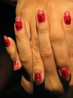Red, White Polka Dots and Roses.