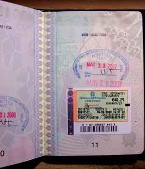 marca da bollo nel passaporto