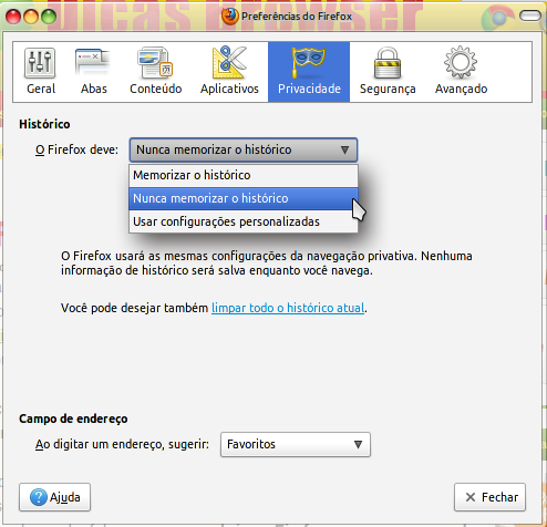 Configurando modo anônimo do Firefox