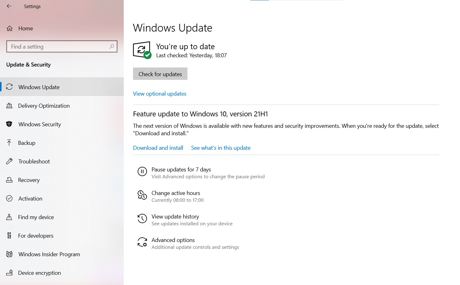 The Windows Update settings page