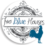 Two Blue Houses Round Button