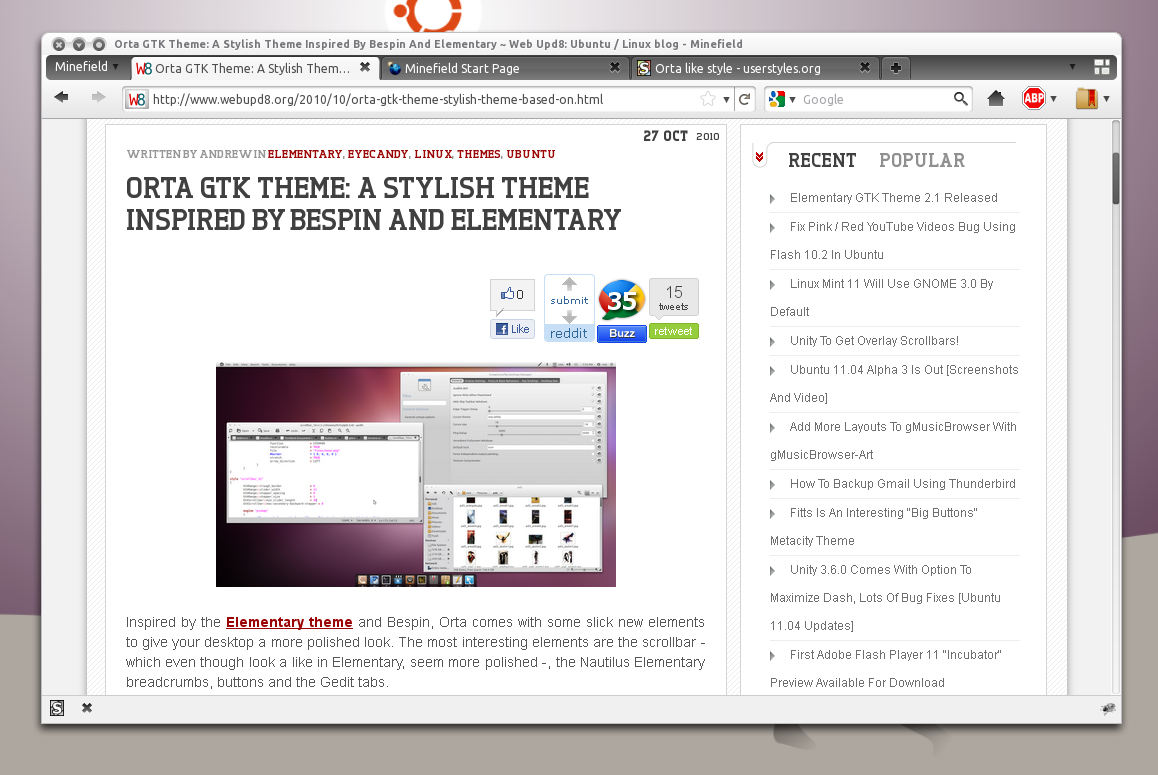 Gmail theme firefox - Orta Firefox 4 0 Style