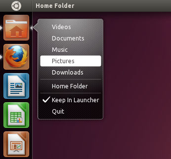 Home folder quicklists