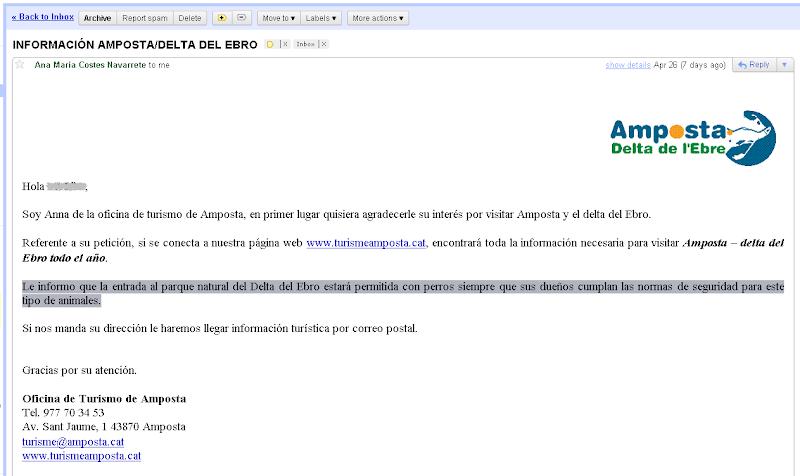 Contestación oficina de Turismo de Amposta