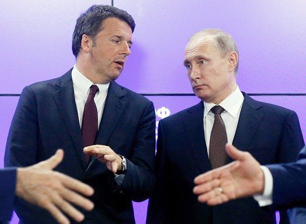 Президент России Владимир Путин и премьер-министр Италии Маттео Ренци на международном экономическом форуме в Санкт-Петербурге, 17 июня 2016 года