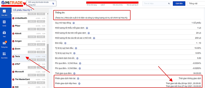 xem thông tin phiên giao dịch theo giờ Việt Nam