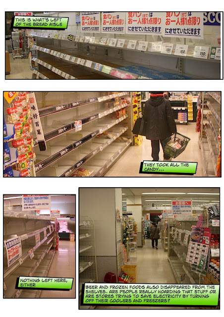 The empty shelves in a Chiba supermarket