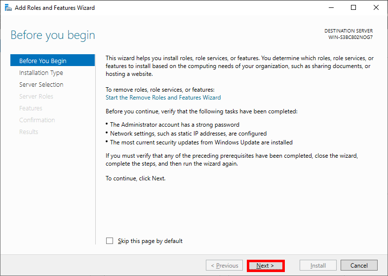 Windows Server Manager 2019 Before you begin