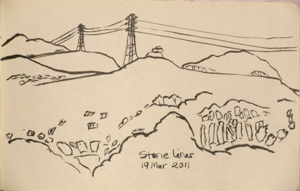 sketch of wires and rocks