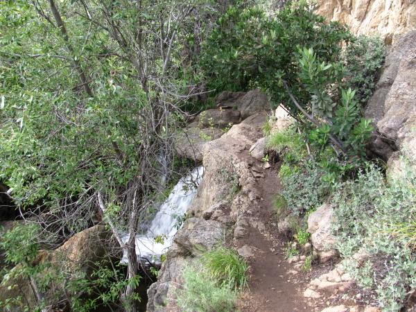 a piece of trail along a ledge