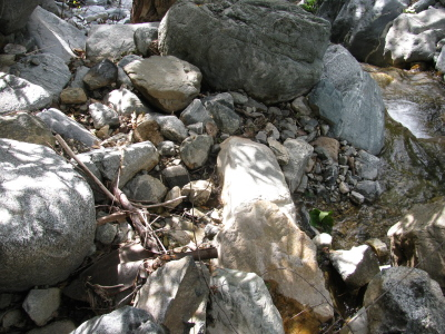 a shovel head among the rocks by the stream