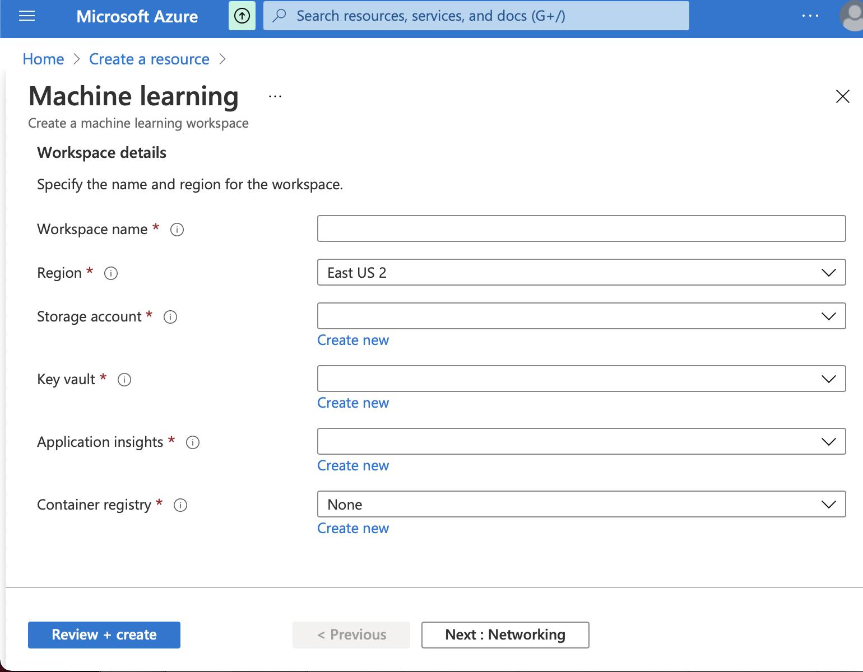 ML workspace   azure Machine learning