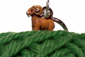 Sheep charm on wool