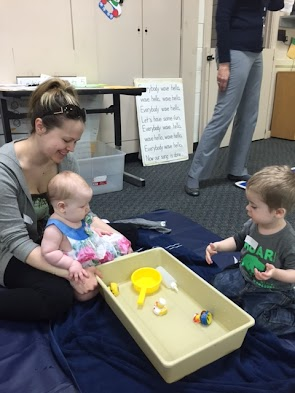Siblings are welcome to join in the fun or they can play independently in the playroom