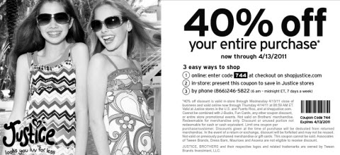 Justice For Girls coupon april 2011