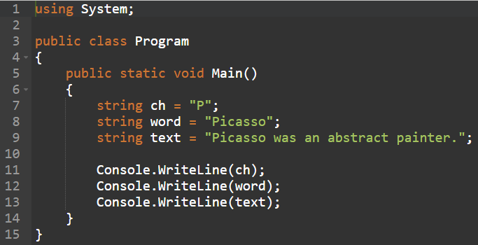 example of a string variable code