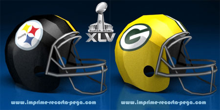 Super Bowl XLV Papercraft Helmets