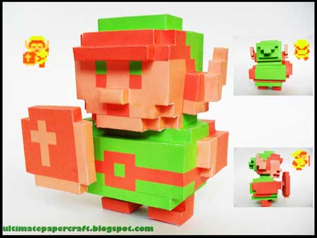 8Bit Linke Papercraft