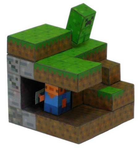 Minecraft Paper Toy Offers Lots of Blocky Fun