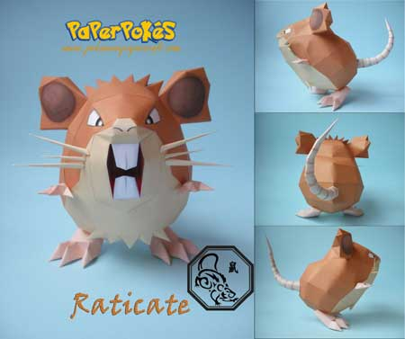 Pokemon Raticate Papercraft
