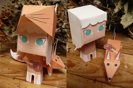Fox Girl Paper Toy Muki Shungila