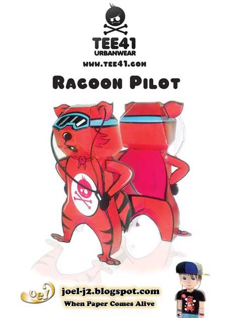 Racoon Pilot Papercraft