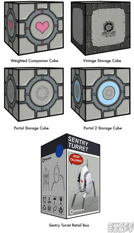 Portal 2 Papercraft Storage Cubes Sentry Turret Retail Box