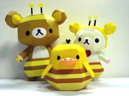 Relax Bear Rilakkuma Honey Bee Papercraft