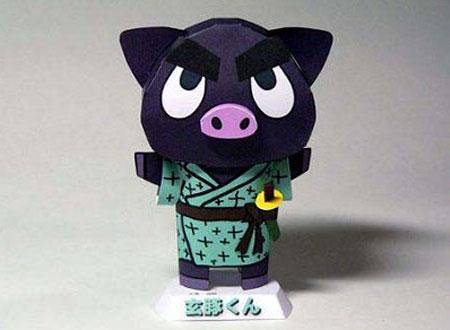 Kurobuta Kagoshima Black Pig Papercraft