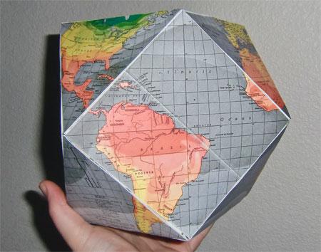 Dymaxion World Cubeoctahedron Globe Papercraft
