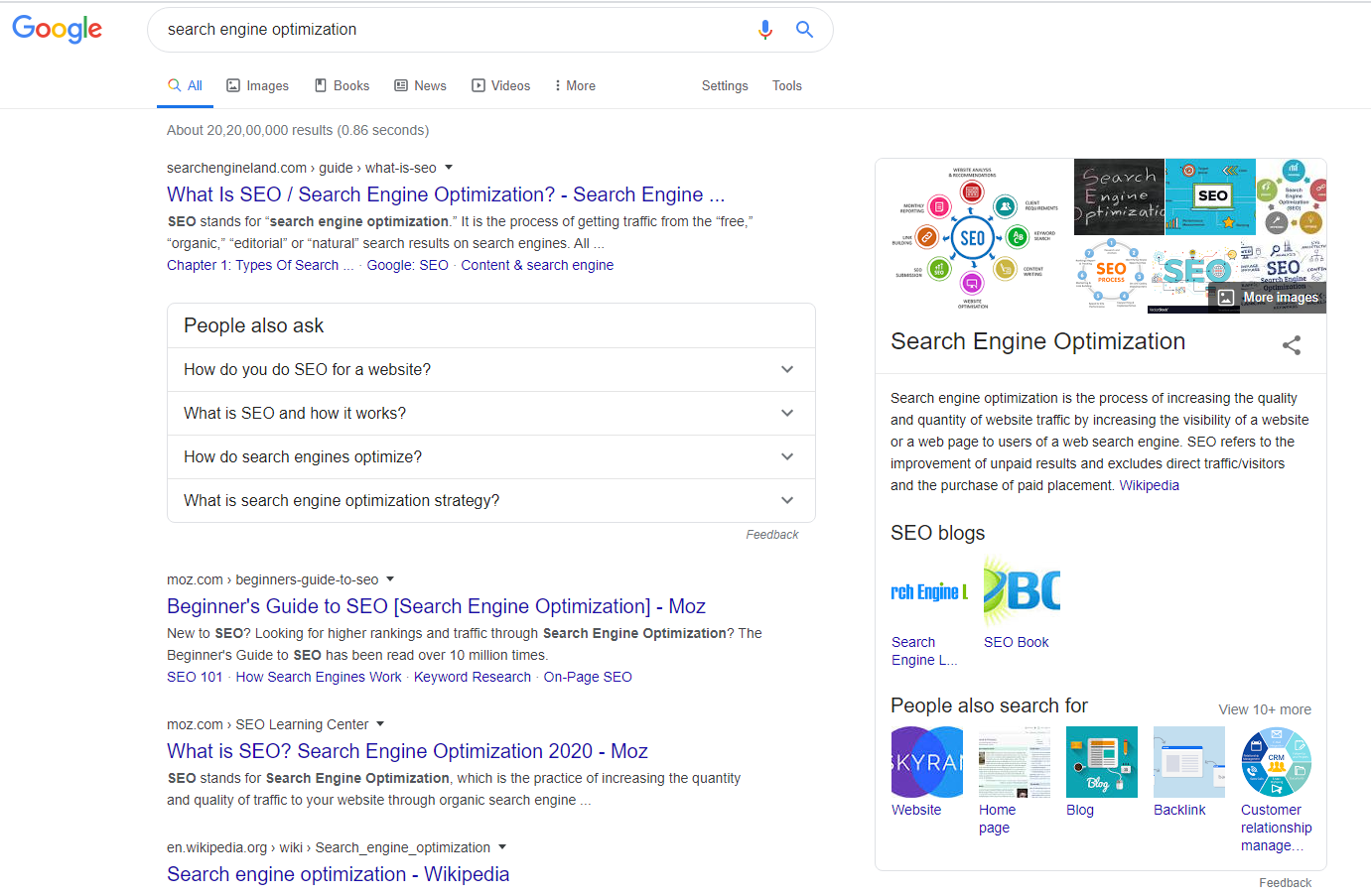 serp of search engine optimiztion