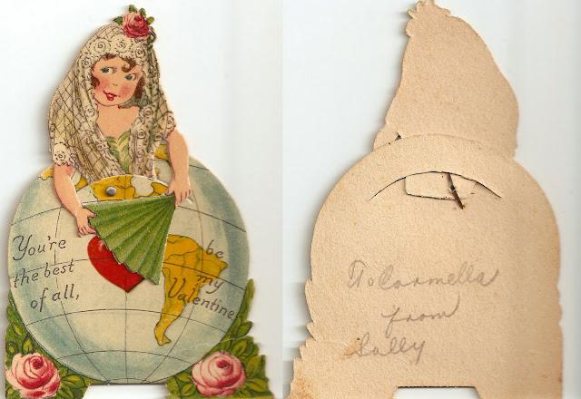 antique vintage old valentine grandma's girl fortune teller gypsy globe earth heart fan sweet