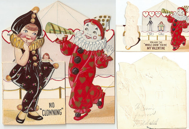 antique vintage old valentine grandma's circus girl children clown sweet