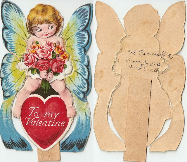antique vintage valentine butterfly girl sweet lovely old