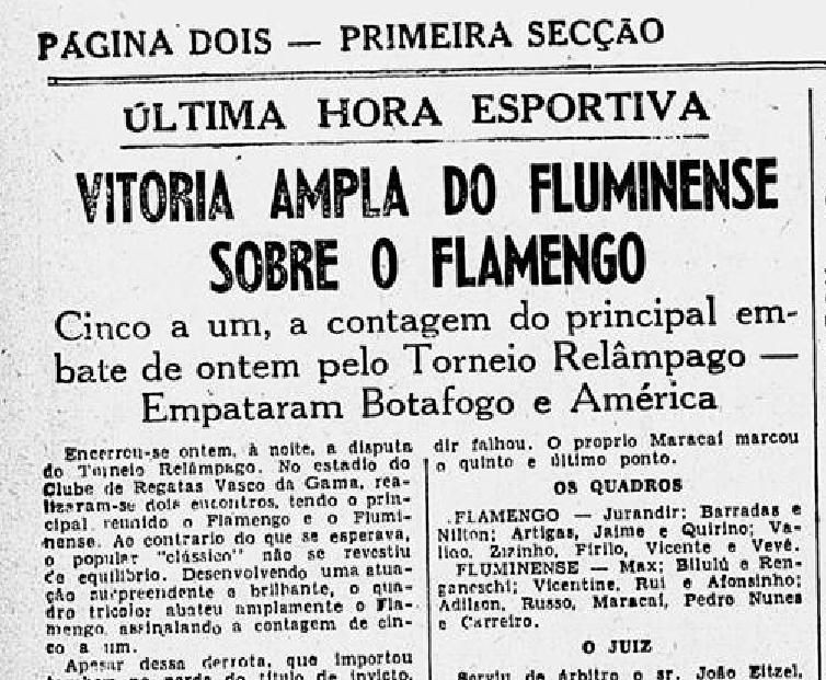 Uma das 60 maiores goleadas sofridas pelo Flamengo: Fluminense 5x1.