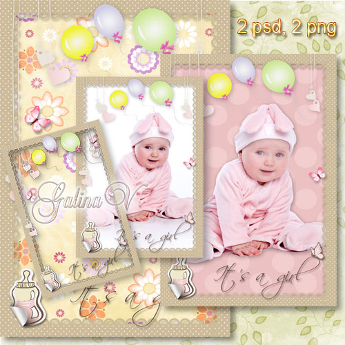 Baby's Photoframe and Template - Baby Girl in Pink