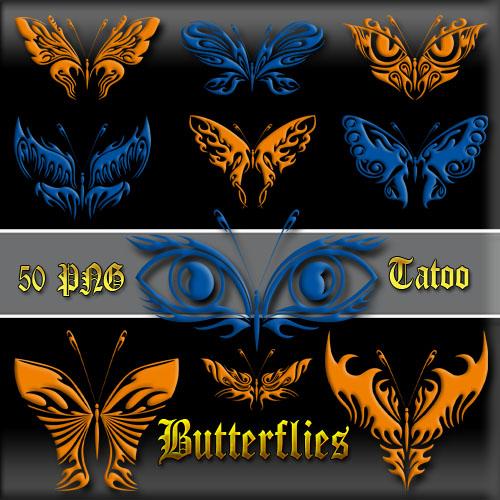 Клипарт PNG - Оранжевые и синие бабочки тату