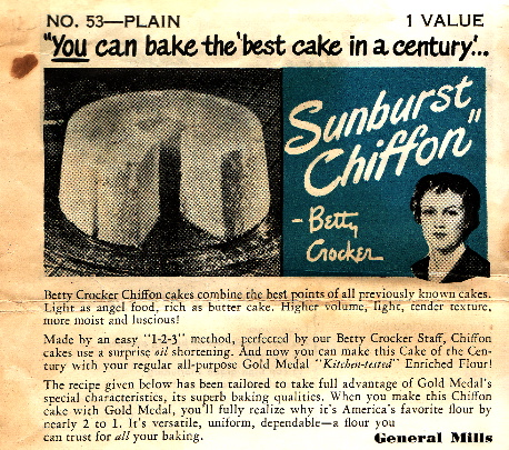 Betty Crocker Sunburst Chiffon Cake