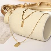 New Trend Double-Layer Titanium Steel Necklace Women's Choker Double Pendant Rectangular Multi-Layer Necklace Snake Bones Chain Wholesale