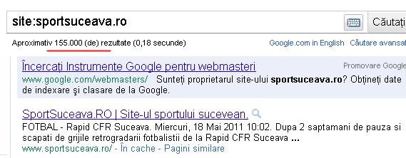 SportSuceava are 155.000 de pagini indexate de Google şi doar 2.500 de articole publicate