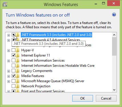 Add feature untuk menambah .NET 3.5 di Windows 8