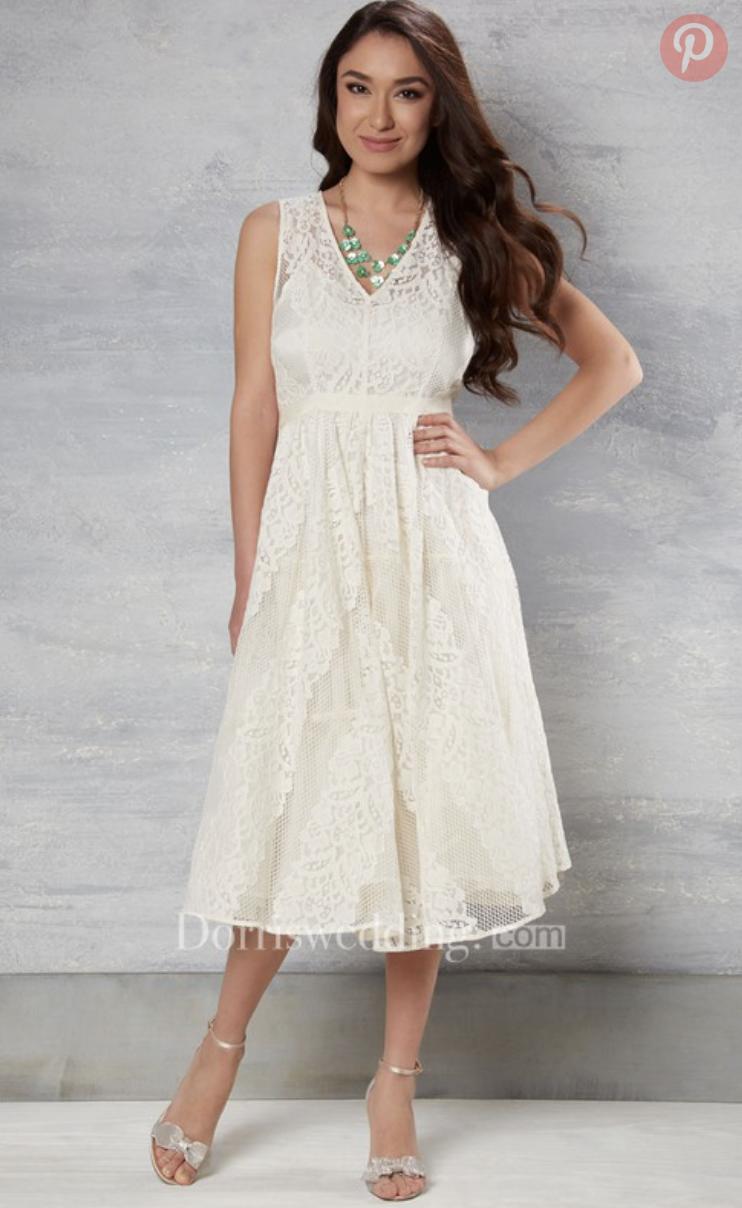tea-length v-neck sleeveless lace wedding dress from dorris wedding