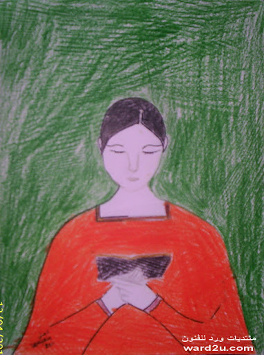 المطالعه في لوحات رسامين صغار