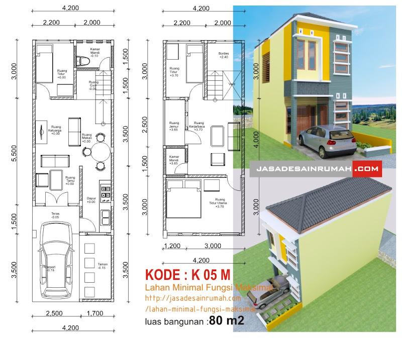 Desain Rumah Minimalis Lebar 4 Meter  new denah rumah dengan lebar 4 meter