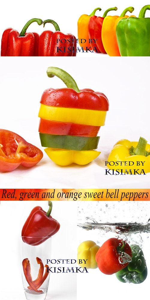 Stock Photo: Red, green and orange sweet bell peppers