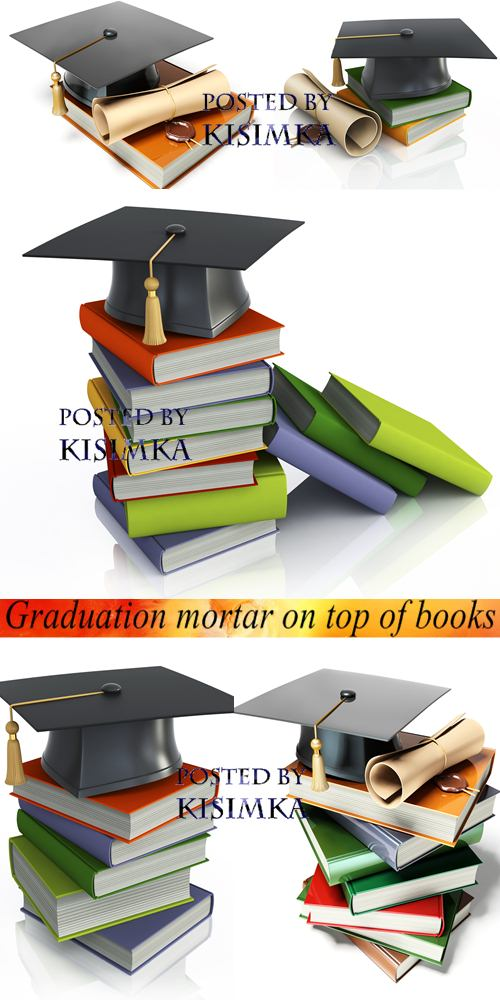 Stock Photo: Graduation mortar on top of books