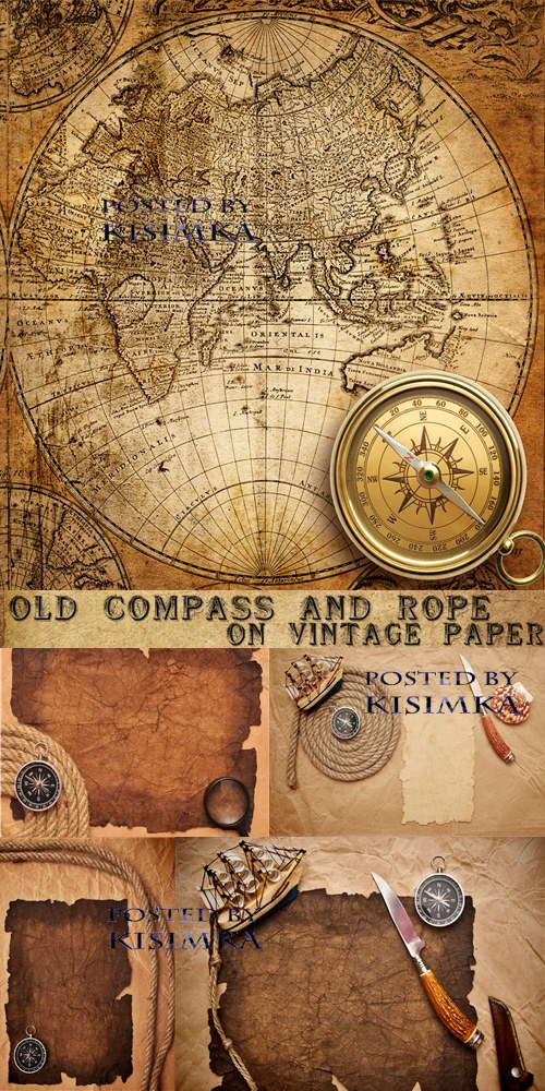 Stock Photo: Old compass and rope on vintage paper